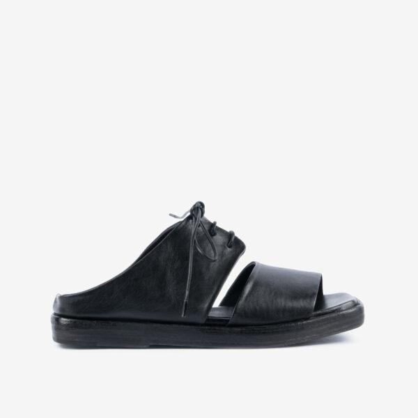 Sandalo-in-pelle-nera-allacciato-ernesto-dolani